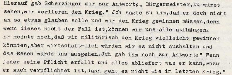 Abb. 1: Strafanzeige beim Sondergericht Freiburg wegen Verbrechen gegen die Kriegssonderstrafrechtsverordnung und Vergehen gegen das HeimtückegesetzTatort Heuweiler. Tatzeit: März 1941