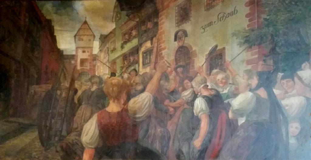 Frauen der Gerbergasse stürmen den Stadtturm zum Schaub mit Gewalt und befreien Peter Jehle und Martin Imberi