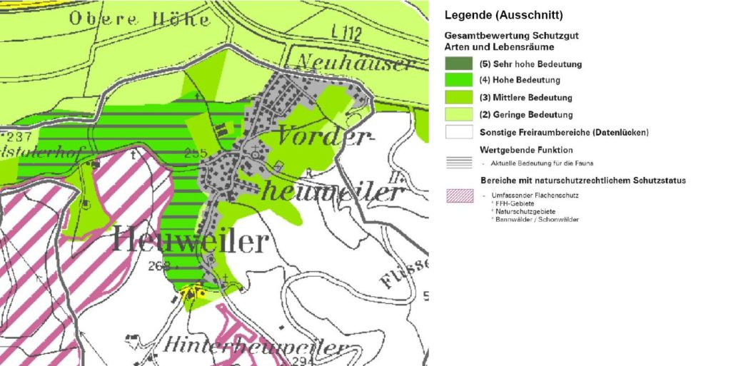 Heuweiler im Landschaftsrahmenplan (Fachkarte Schutzgut Schutzgut Arten und Lebensräume)