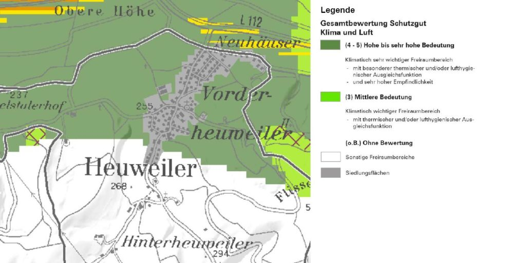 """Heuweiler im Landschaftsrahmenplan (Fachkarte """"Schutzgut Klima und Luft"""")"""