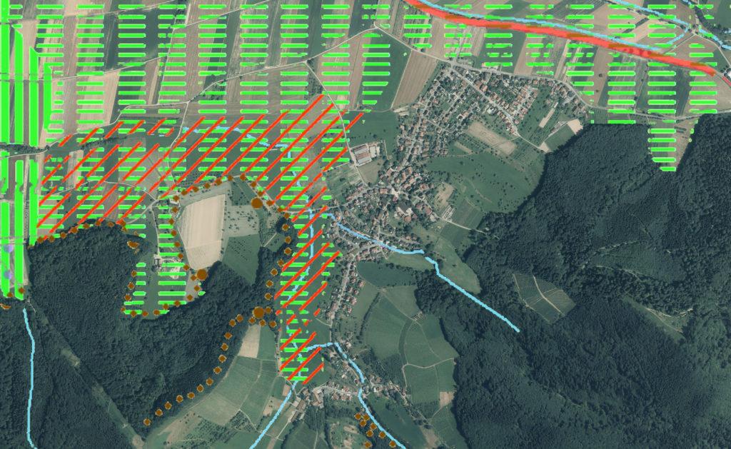 Luftbild Heuweiler überlagertr mit Regionalplan von 2018