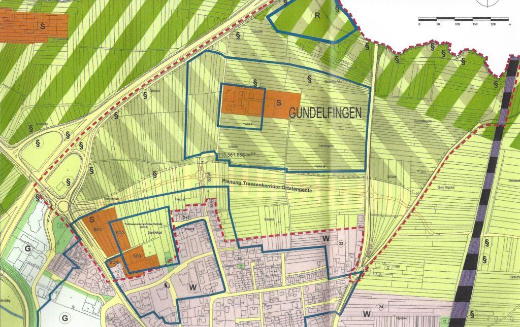 Flächennutzungsplan der vereinbarten Verwaltungsgemeinschaft Gundelfingen - Heuweiler. Planzeichnung; Entlastungsstrasse; Ortstangente.