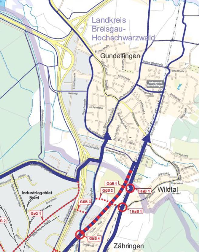 Ausschnitt aus dem Routenplan des Radverkehrskonzeptes der Stadt Freiburg in Richtung Gundelfingen